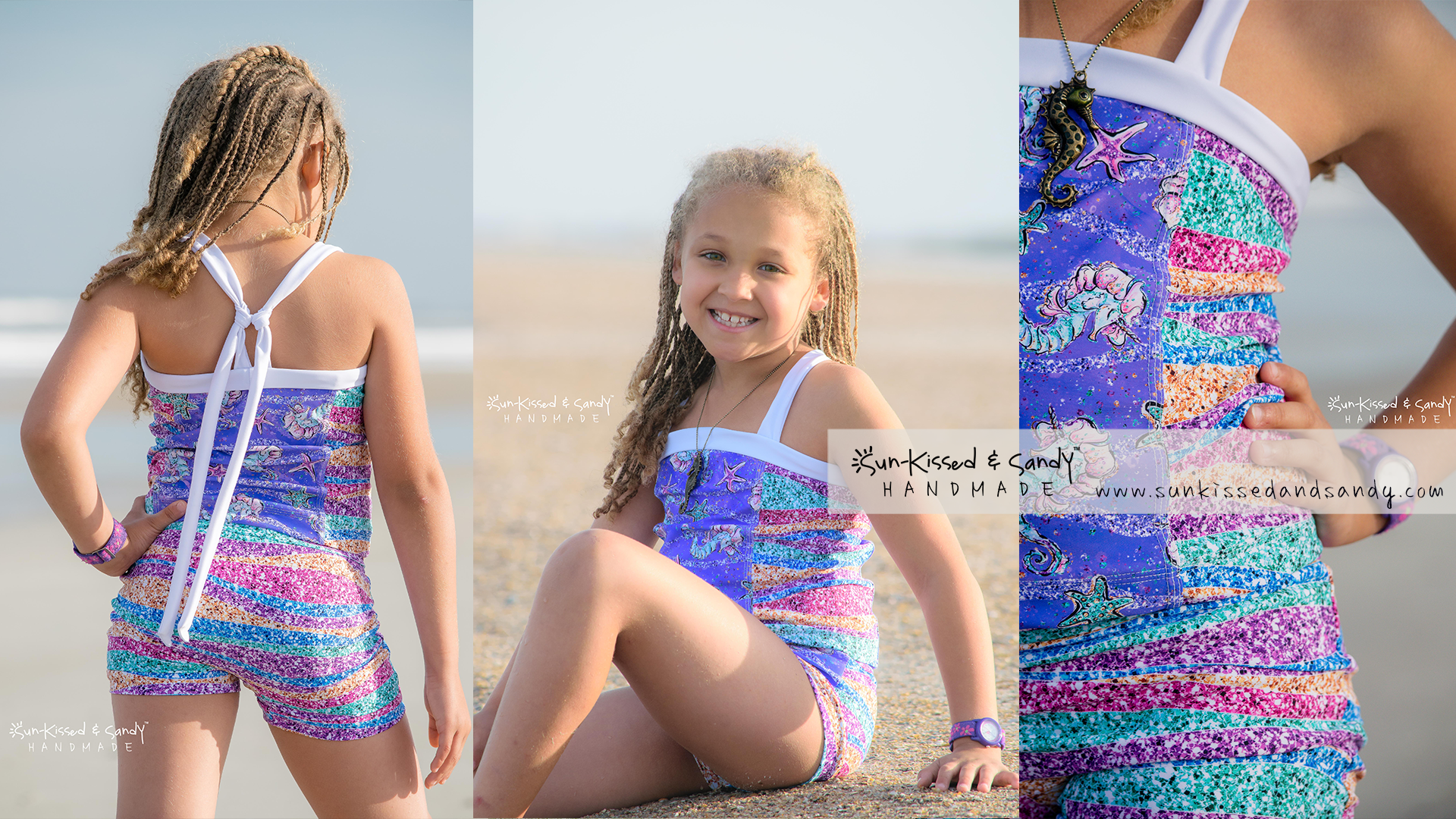 Sun-kissed and sandy handmade tankini swimsuit and rash-guard.