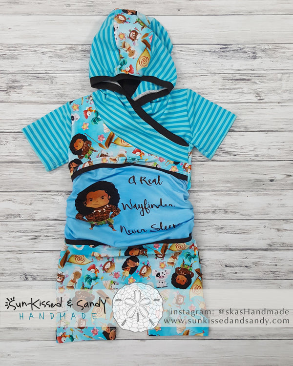Moana Wayfinder Never Sleeps Grow-With-Me Hooded Romper Ready To Ship