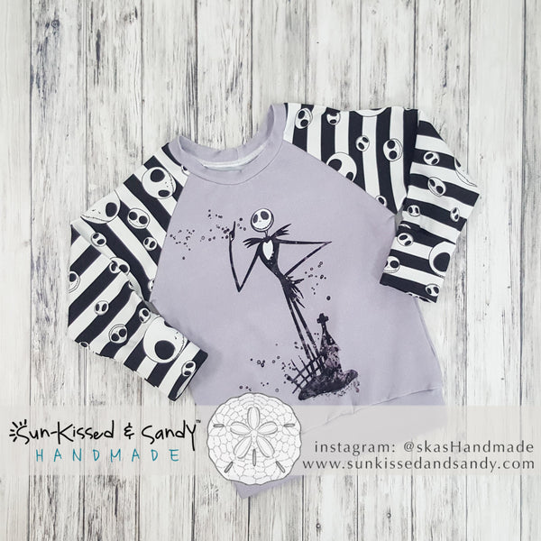 Splatter Jack Skellington Lavender Grey Gwm Raglan Ready To Ship
