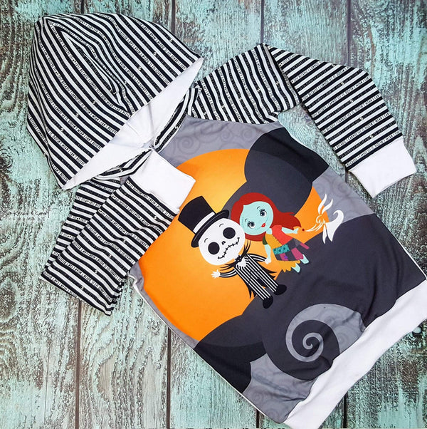 Jack & Sally Raglan Hoodie - (Custom Made To Order) Custom Mto