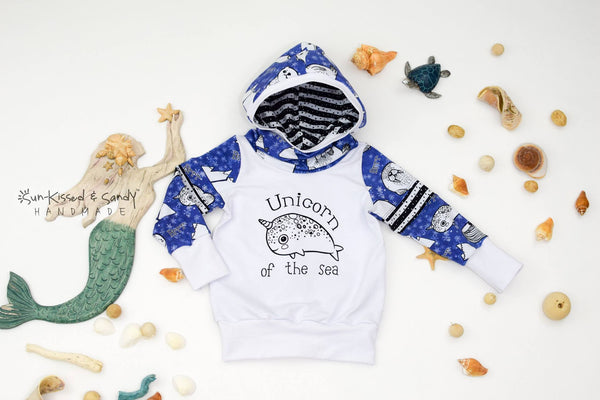Unicorn Of The Sea Color-Blocked Slouchy Scuba Hoodie - Rts Ready To Ship