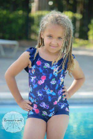 Bubbly Sea Ponies Ruffled Scoop Back Swimsuit Reserved Listing