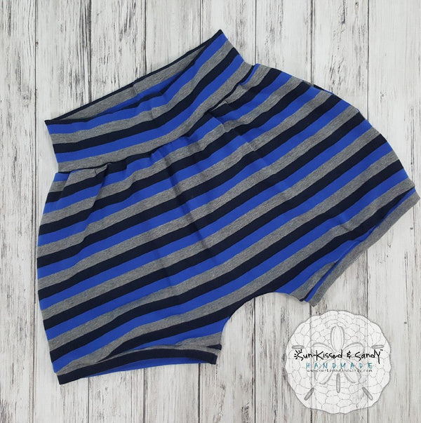 Blue/grey Stripe Balloon Shorts Ready To Ship