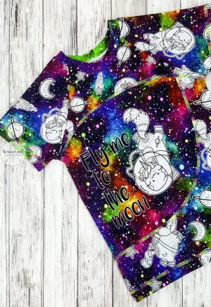 Space Unicorn Fly Me To The Moon Panel Raglan Reserved Listing