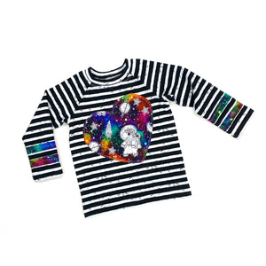 Unicorn in Space Heart Applique on Stripe Long Sleeve Raglan