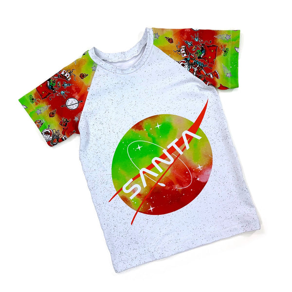 Santa in Space Short Sleeve Raglan
