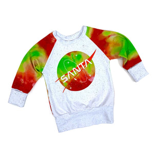 Santa in Space Long Sleeve Grow-With-Me Raglan