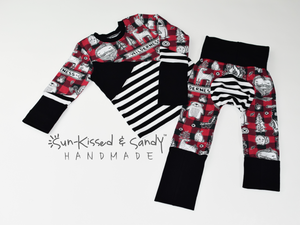 2T/3T Wilderness Color Blocked Long Sleeve Tee And 6M-3Y Grow With Me Loon Pants Ready To Ship