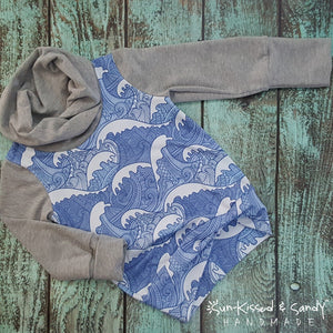 Cobalt Waves Grow With Me Cowl Top Ready To Ship