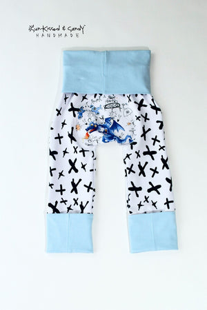 12-24M Doodle Dragon Color Blocked Tee And 6M-3Y Grow With Me Loon Pants - Rts Ready To Ship
