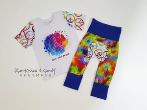 3T Peace & Love Tee And 6M-3Y Grow With Me Loon Pants Ready To Ship