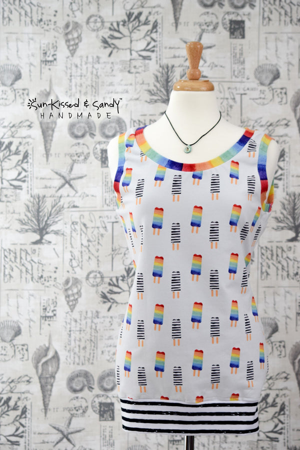 Rainbow Pops Tunic Length Tank Ready To Ship