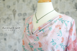 Rose Mermaids Long Cuff Sleeve / Scarf Neck Top Ready To Ship