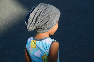 Grey Print Ribbed Knit Grow With Me Slouchie Beanie