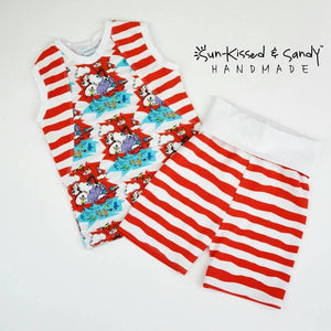 Red/white Dr. Seuss Tank & Knee Shorts Ready To Ship