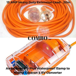 Ampfibian RV Plus 10AMP - 15AMP Waterproof Converter & 15AMP Cable 20m