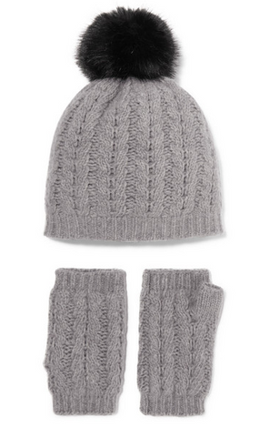Cashmere Beanie and Fingerless Gloves