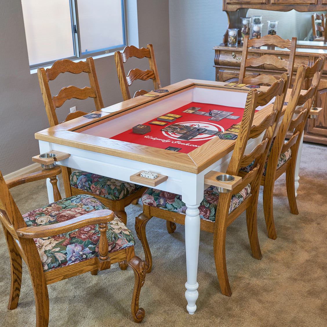 The Earl Farmhouse Custom Gaming Table With Lid Off Set Up For Gaming In A  Kitchen ...