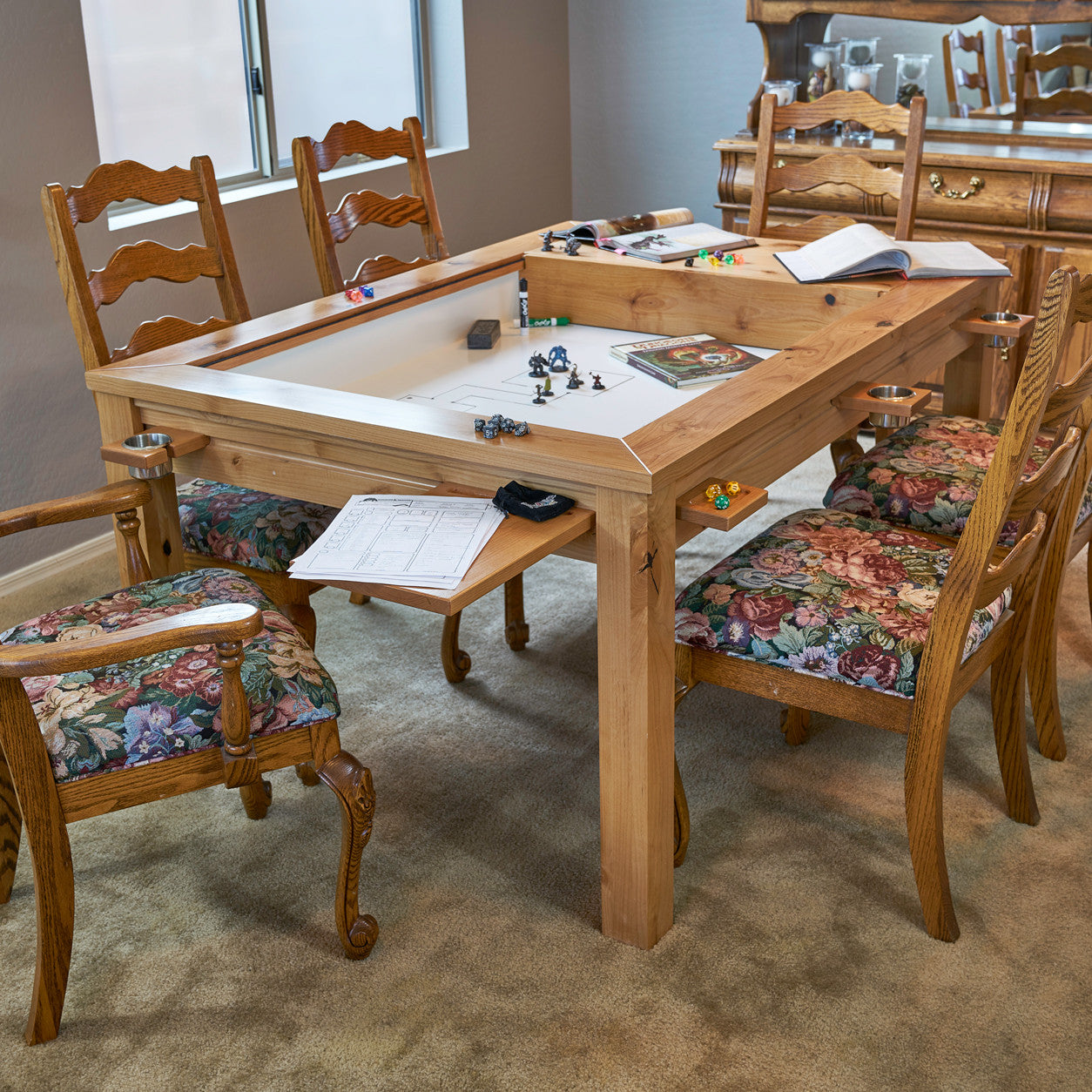 The Earl Rustic Custom Gaming Table With Lid Off Set Up For Gaming In A  Kitchen ...