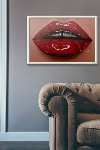 Glossy Gap Red Lips Print - Giovannie's Originals