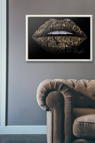 Black And Gold Rose Lips Print - Giovannie's Originals