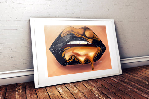 Black and Gold Lips Print, Prints - Giovannie's Originals