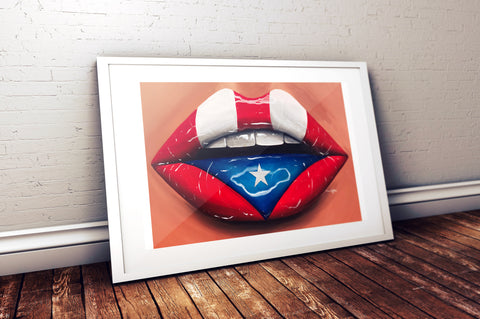 Puerto Rico Flag Glossy Lips Print - Giovannie's Originals