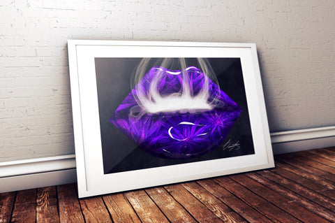 Purple Cannabis Lips Print - Giovannie's Originals