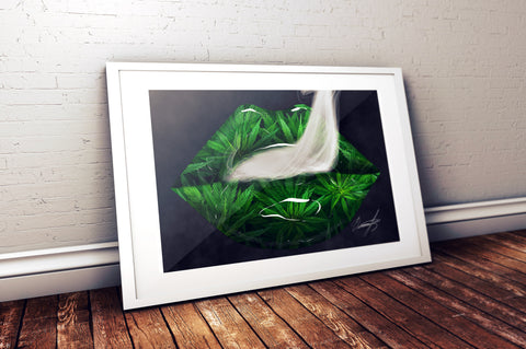 Cannabis Leaves Lips Print - Giovannie's Originals
