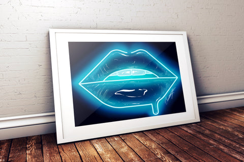 Baby Blue Neon Lips Print - Giovannie's Originals