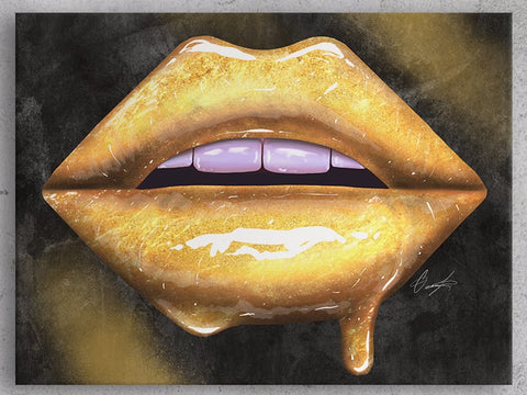 Gold Lips Canvas Print - Giovannie's Originals