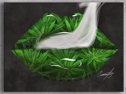 Cannabis Leaves Lips Canvas Print - Giovannie's Originals