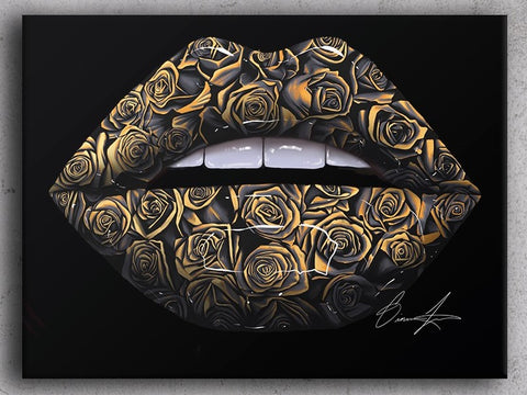 Black And Gold Rose Lips Canvas Print - Giovannie's Originals
