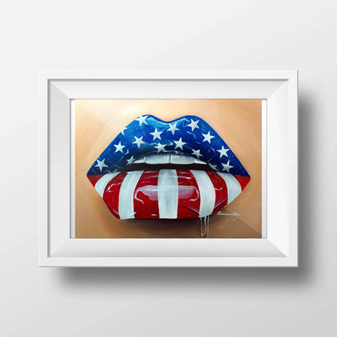 American Flag Glossy Lips Print - Giovannie's Originals