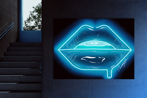 Baby Blue Neon Lips Canvas Print - Giovannie's Originals