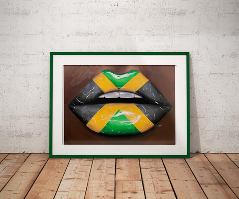 Jamaican Flag Lips Print - Giovannie's Originals