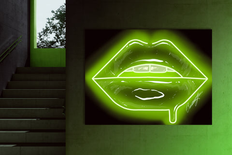 Lime Green Neon Lips Canvas Print - Giovannie's Originals