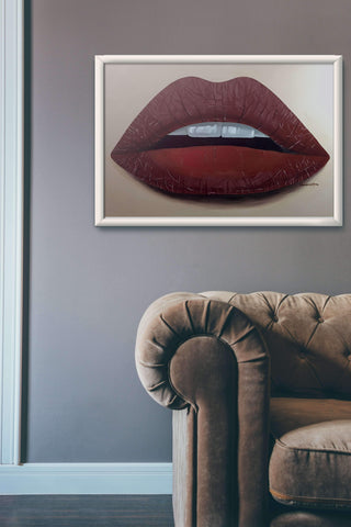 Matte Maroon Lips Painting Print, Prints - Giovannie's Originals