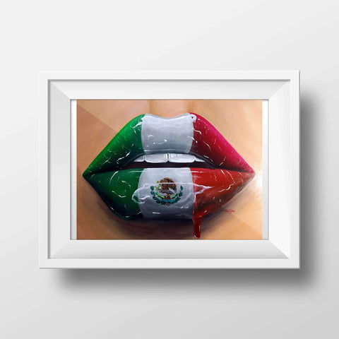 Mexican Flag Gloss Lips Print - Giovannie's Originals