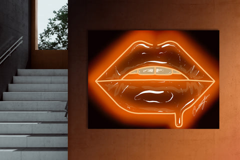 Orange Neon Lips Canvas Print - Giovannie's Originals