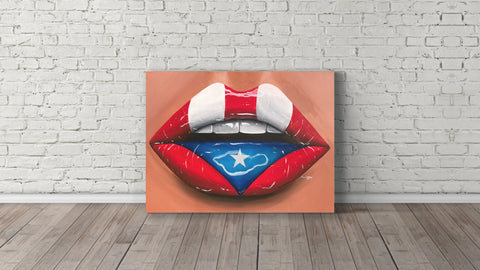 Original Puerto Rico Flag Lips Painting, original - Giovannie's Originals