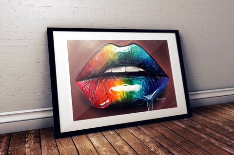 Rainbow Glossy Lips Print - Giovannie's Originals