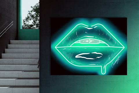 Turquoise Neon Lips Canvas Print - Giovannie's Originals