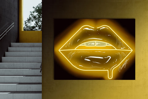 Yellow Neon Lips Canvas Print - Giovannie's Originals