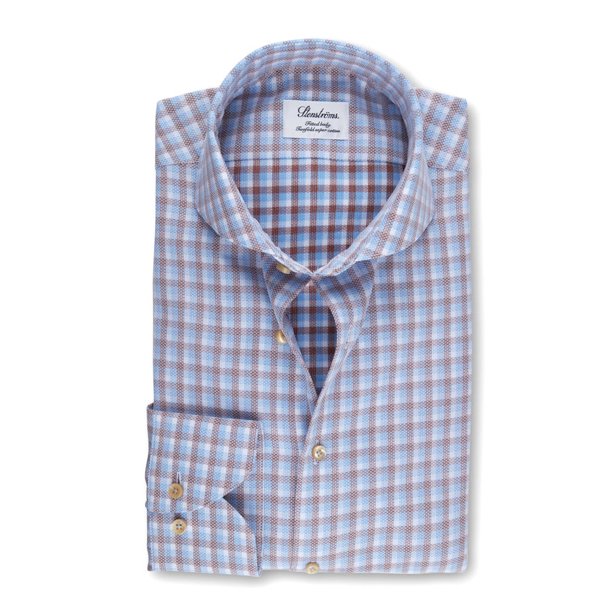 Stenströms Long Sleeve Hybrid Dress Shirt Check