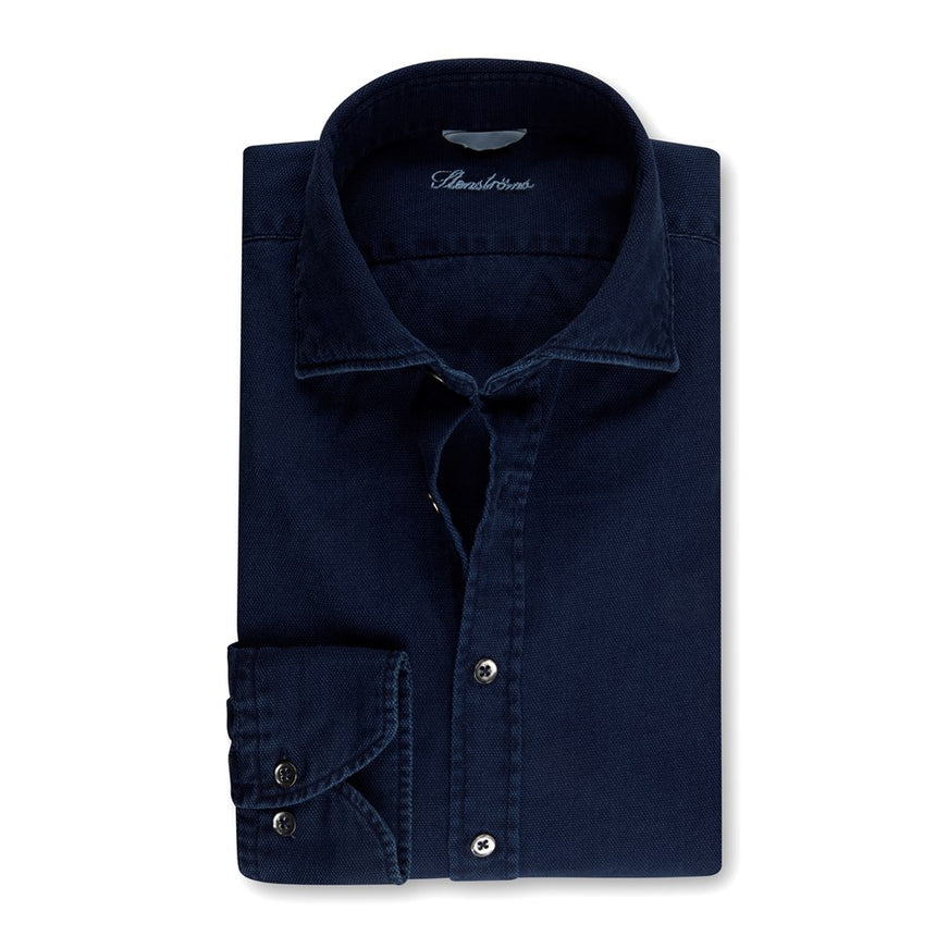 Stenströms Long Sleeve Sport Shirt - Denim Pique