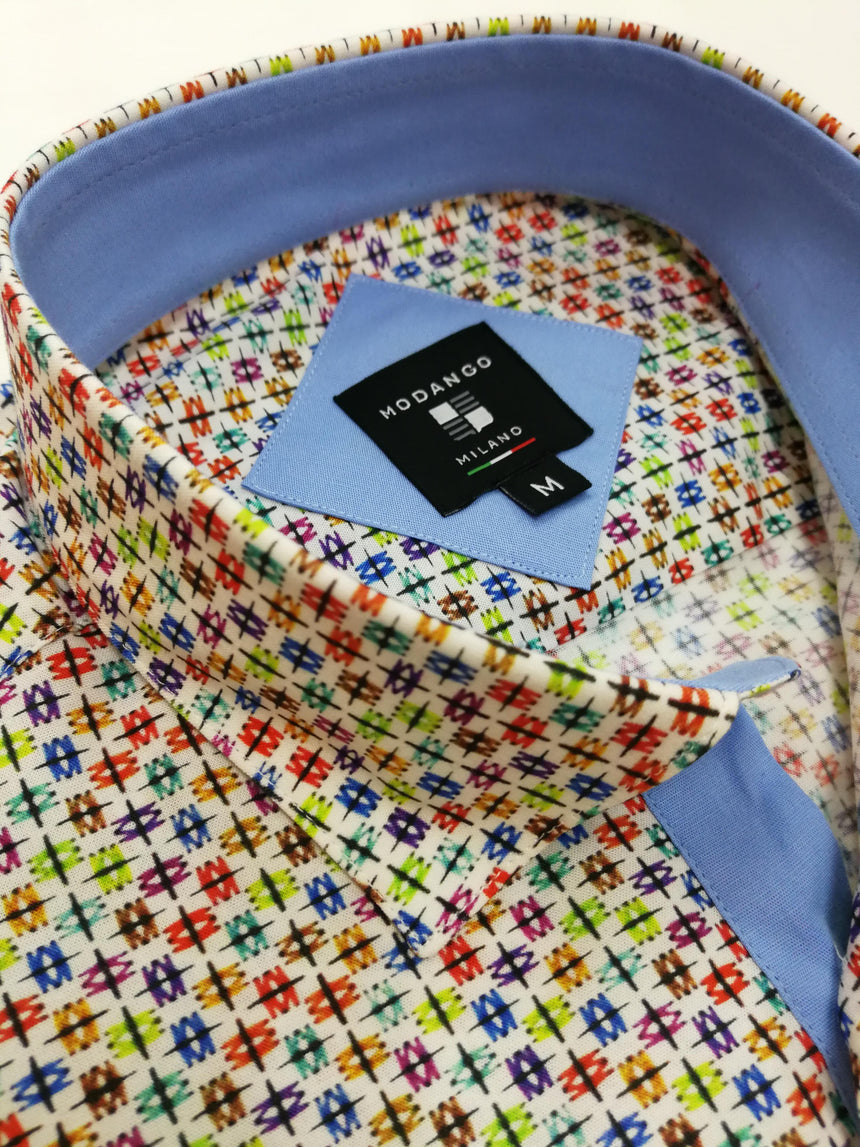 Modango Short Sleeve Shirt - Multi Colour Print