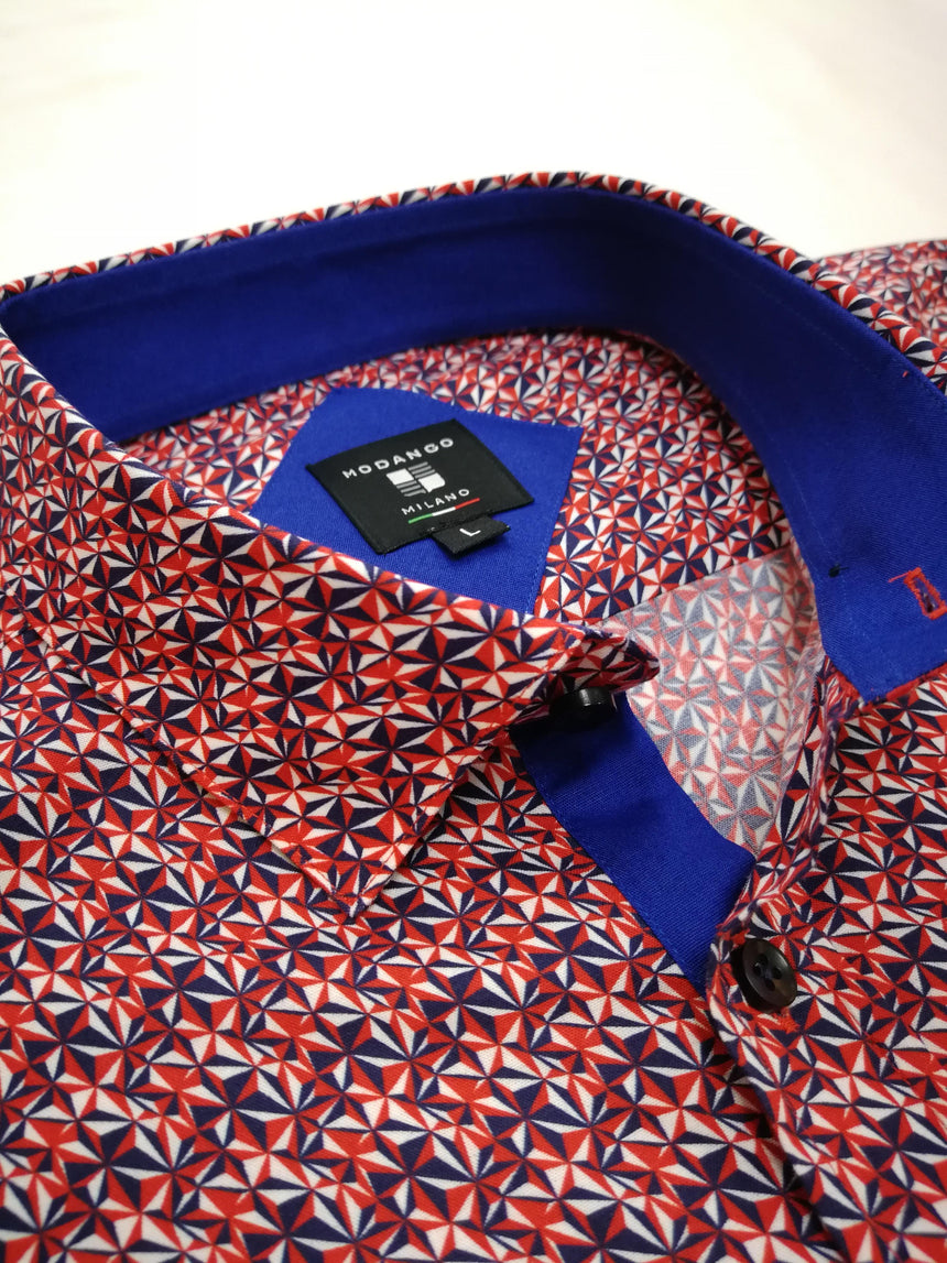Modango Short Sleeve Shirt - Red & Navy Print