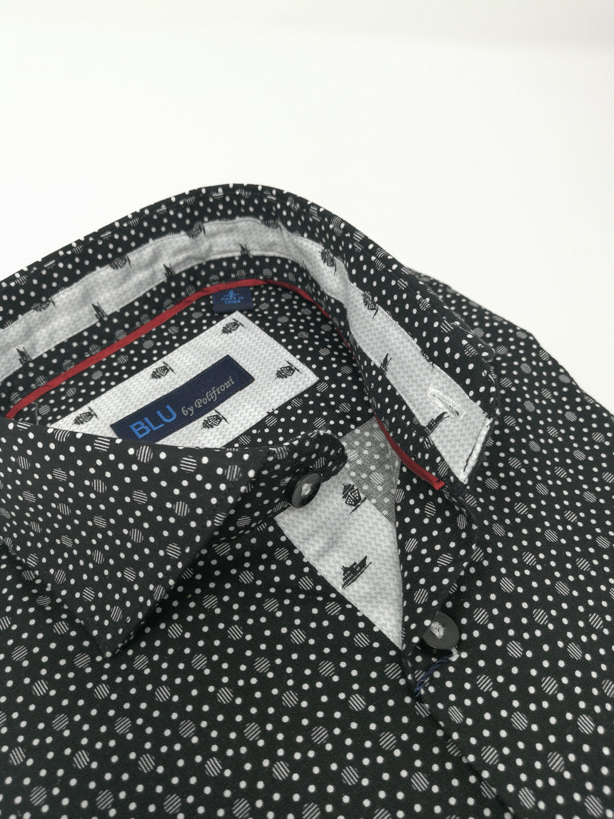 Blu Long Sleeve Sport Shirt - Print
