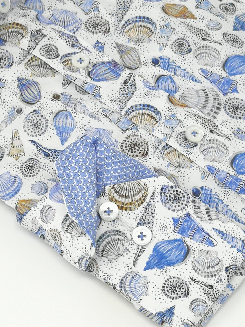 Bugatchi Long Sleeve Sport Shirt - Sea Shell Print